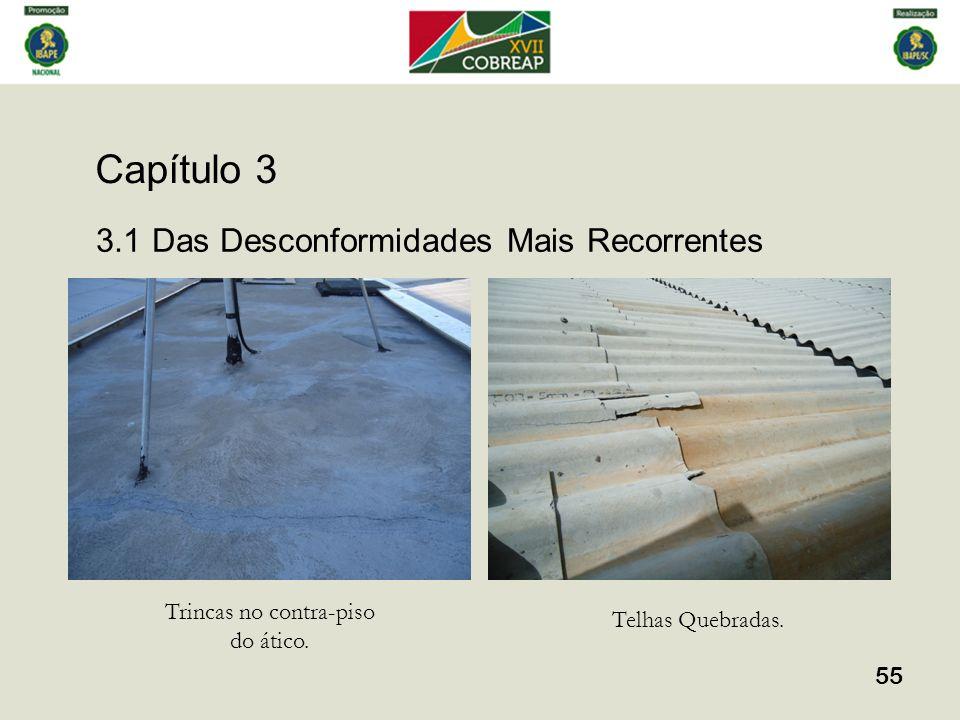 Capítulo 3 55 3.1 Das Desconformidades Mais Recorrentes Trincas no contra-piso do ático. Telhas Quebradas.