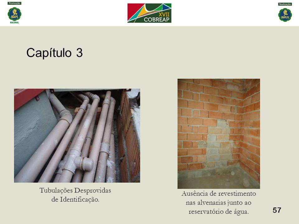 Capítulo 3 57 Tubulações Desprovidas de Identificação. Ausência de revestimento nas alvenarias junto ao reservatório de água.