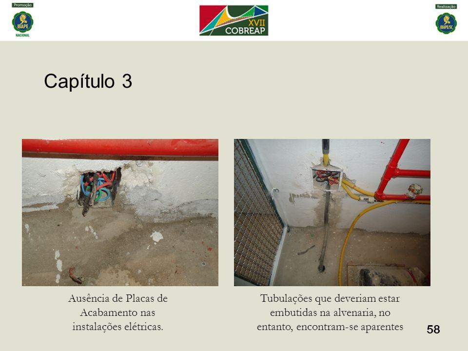 Capítulo 3 58 Ausência de Placas de Acabamento nas instalações elétricas. Tubulações que deveriam estar embutidas na alvenaria, no entanto, encontram-