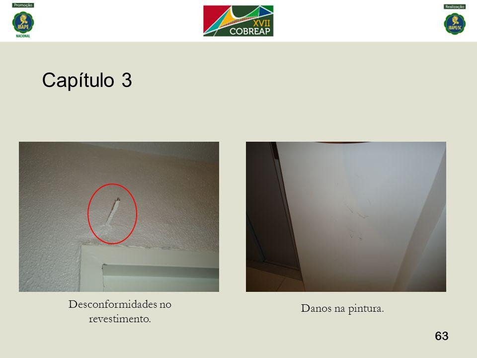 Capítulo 3 63 Desconformidades no revestimento. Danos na pintura.