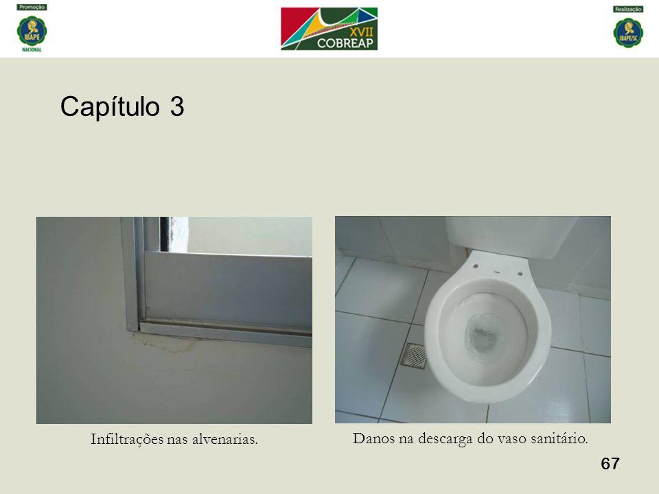 Capítulo 3 67 Infiltrações nas alvenarias. Danos na descarga do vaso sanitário.