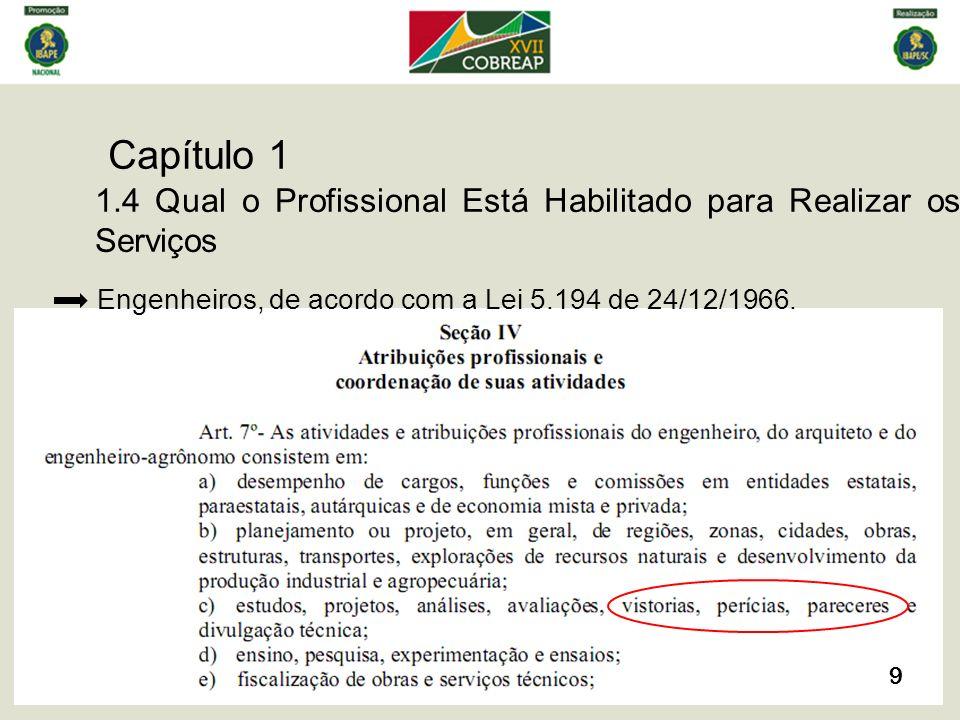Capítulo 1 10 1.4 Qual o Profissional Está Habilitado para Realizar os Serviços Arquitetos, de acordo com a Lei 12.378 de 31/12/2010.