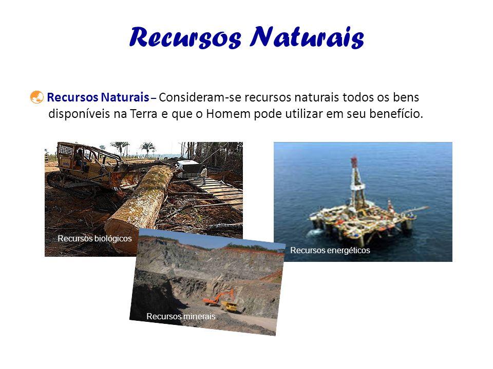Recursos Naturais Recursos Naturais – Consideram-se recursos naturais todos os bens disponíveis na Terra e que o Homem pode utilizar em seu benefício.
