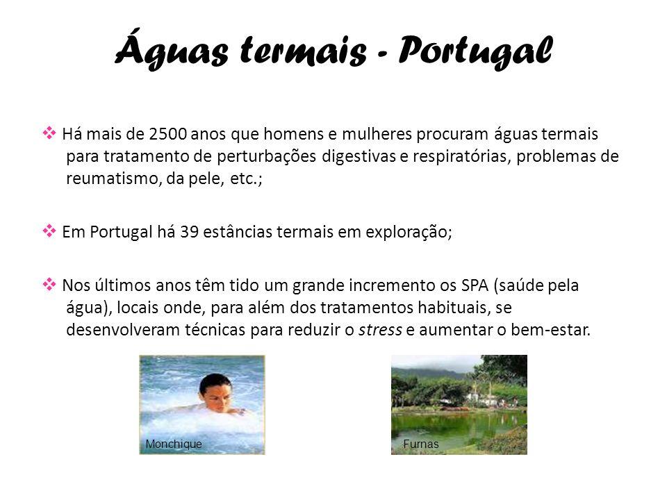 Águas termais - Portugal Há mais de 2500 anos que homens e mulheres procuram águas termais para tratamento de perturbações digestivas e respiratórias,