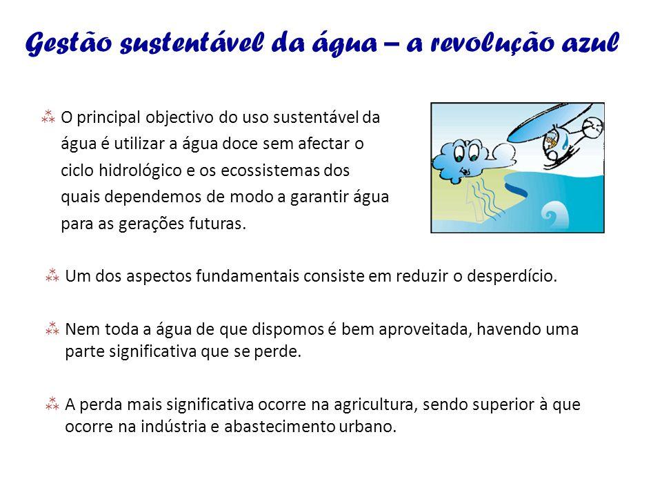 Gestão sustentável da água – a revolução azul O principal objectivo do uso sustentável da água é utilizar a água doce sem afectar o ciclo hidrológico