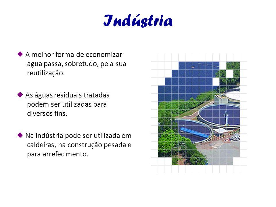 Indústria A melhor forma de economizar água passa, sobretudo, pela sua reutilização. As águas residuais tratadas podem ser utilizadas para diversos fi