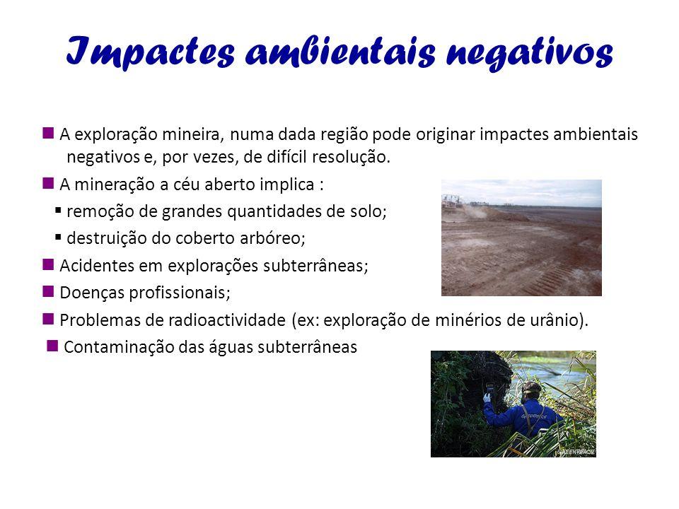 Impactes ambientais negativos A exploração mineira, numa dada região pode originar impactes ambientais negativos e, por vezes, de difícil resolução. A
