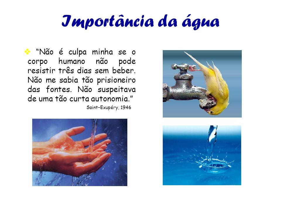 Importância da água Não é culpa minha se o corpo humano não pode resistir três dias sem beber. Não me sabia tão prisioneiro das fontes. Não suspeitava