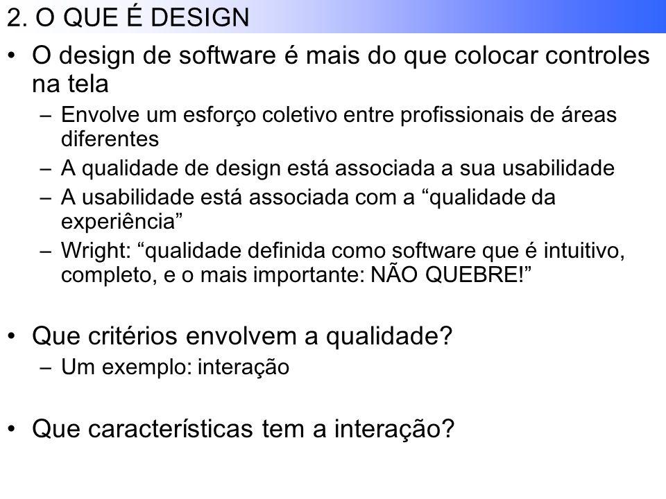 2. O QUE É DESIGN O design de software é mais do que colocar controles na tela –Envolve um esforço coletivo entre profissionais de áreas diferentes –A