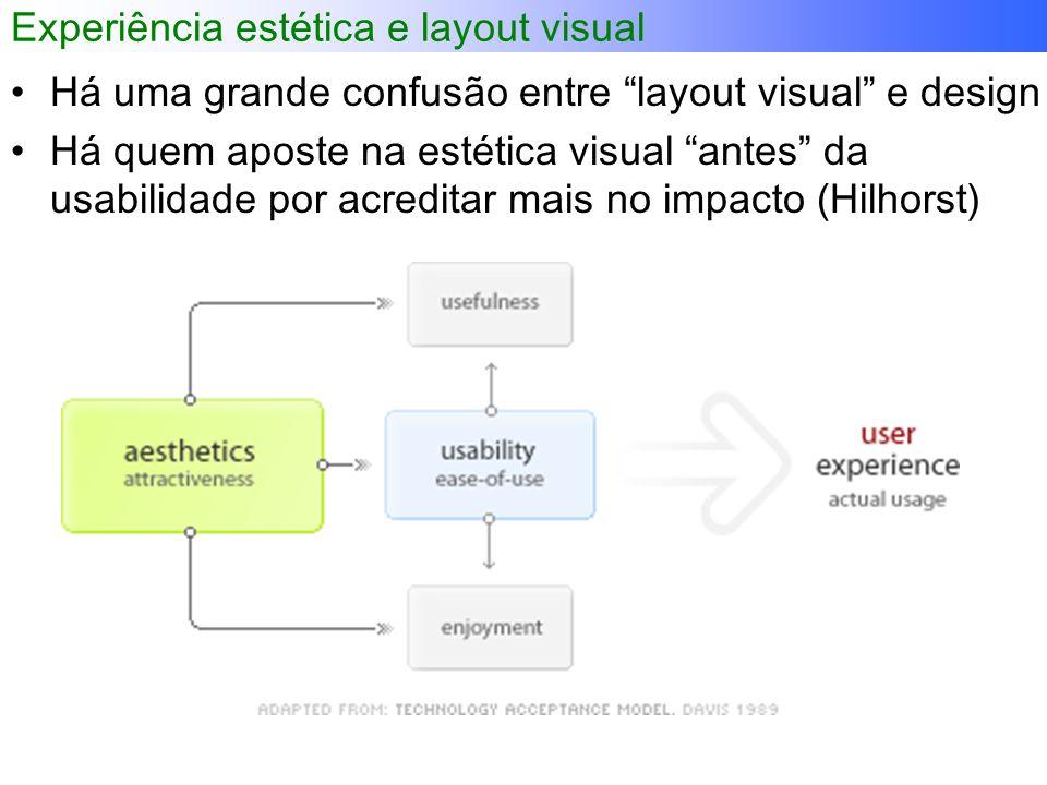 Experiência estética e layout visual Há uma grande confusão entre layout visual e design Há quem aposte na estética visual antes da usabilidade por acreditar mais no impacto (Hilhorst)