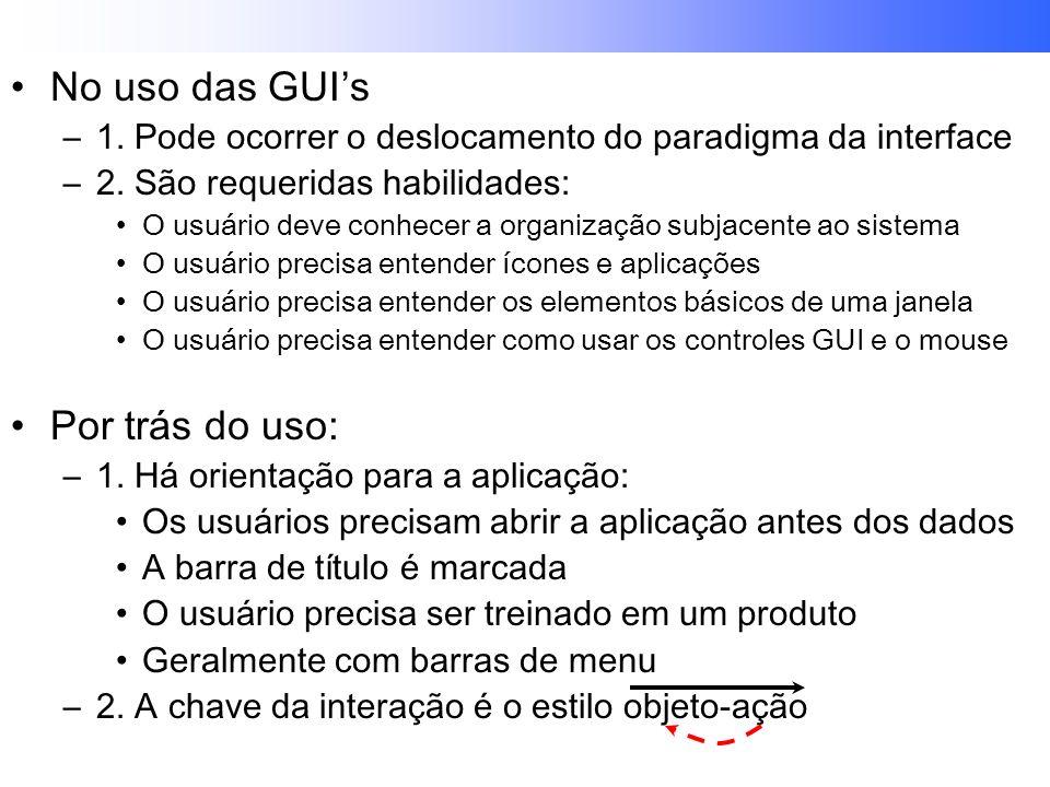 No uso das GUIs –1.Pode ocorrer o deslocamento do paradigma da interface –2.