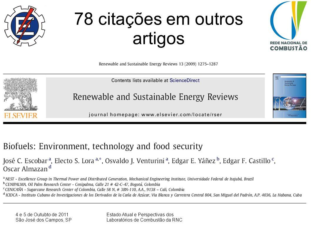 4 e 5 de Outubto de 2011 São José dos Campos, SP Estado Atual e Perspectivas dos Laboratórios de Combustão da RNC