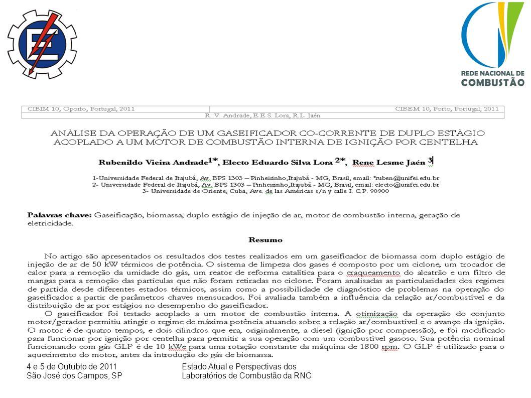 4 e 5 de Outubto de 2011 São José dos Campos, SP Estado Atual e Perspectivas dos Laboratórios de Combustão da RNC Considerações finais Traçar perspectivas de desenvolvimento e cooperação Amplar a cooperação com grupos de pesquisas afins no Brasil e no mundo, com enfase na colaboração com os colegas da RNC).