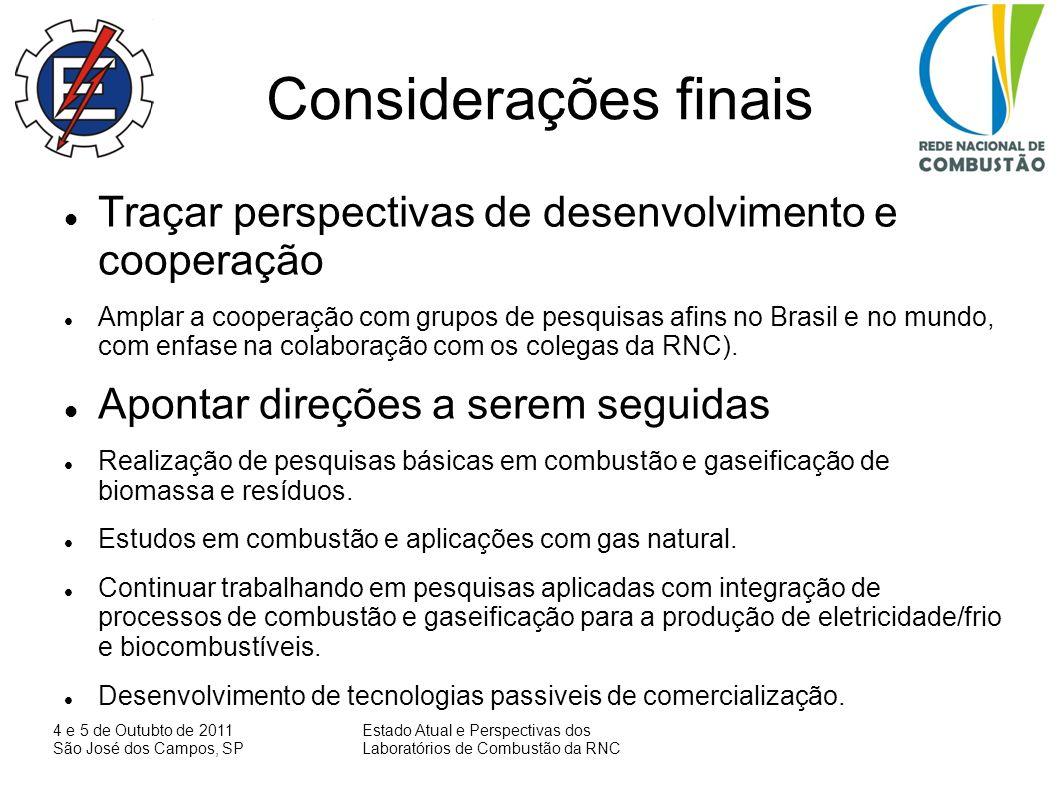 4 e 5 de Outubto de 2011 São José dos Campos, SP Estado Atual e Perspectivas dos Laboratórios de Combustão da RNC Considerações finais Traçar perspect