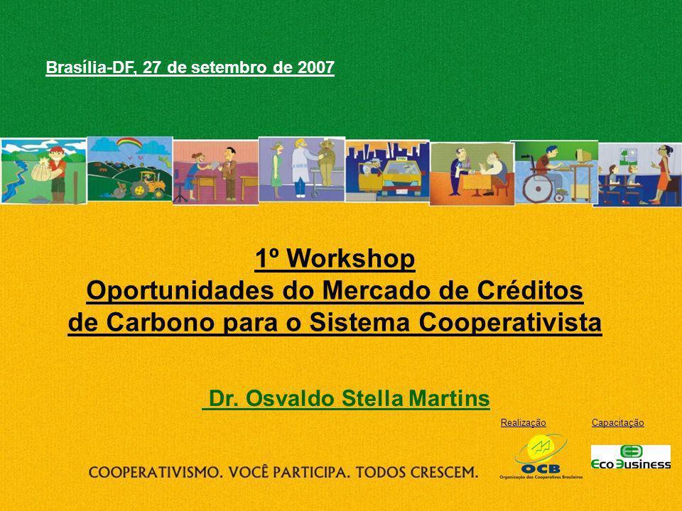 RealizaçãoCapacitação 1º Workshop Oportunidades do Mercado de Créditos de Carbono para o Sistema Cooperativista Brasília-DF, 27 de setembro de 2007 Dr