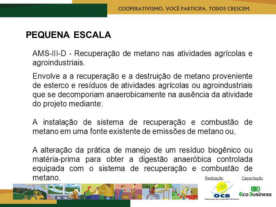 RealizaçãoCapacitação PEQUENA ESCALA AMS-III-D - Recuperação de metano nas atividades agrícolas e agroindustriais. Envolve a a recuperação e a destrui