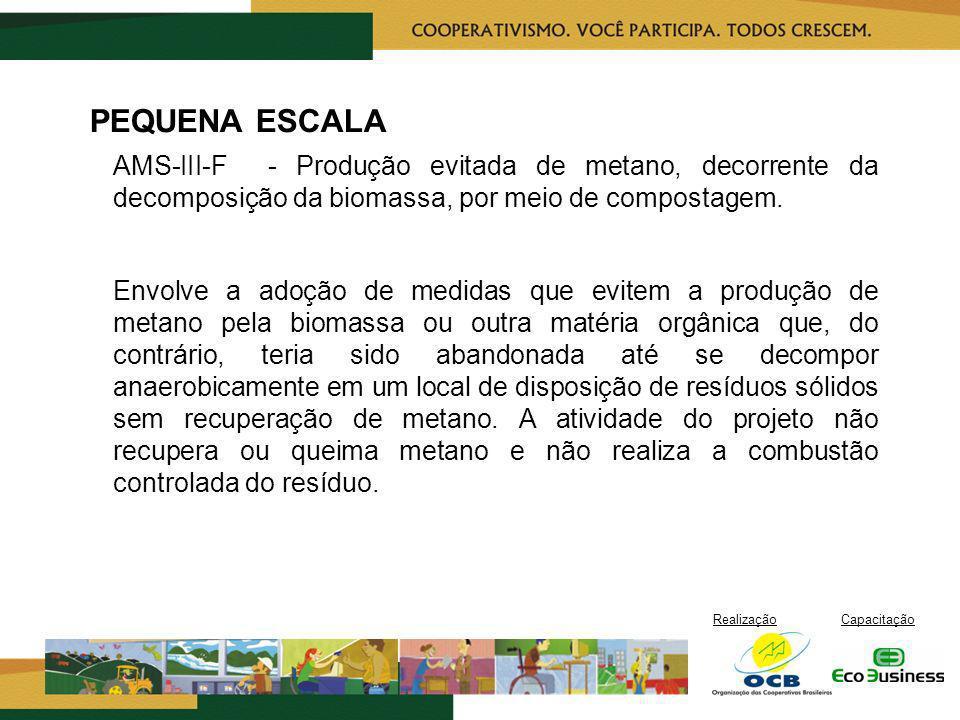 RealizaçãoCapacitação PEQUENA ESCALA AMS-III-F - Produção evitada de metano, decorrente da decomposição da biomassa, por meio de compostagem. Envolve