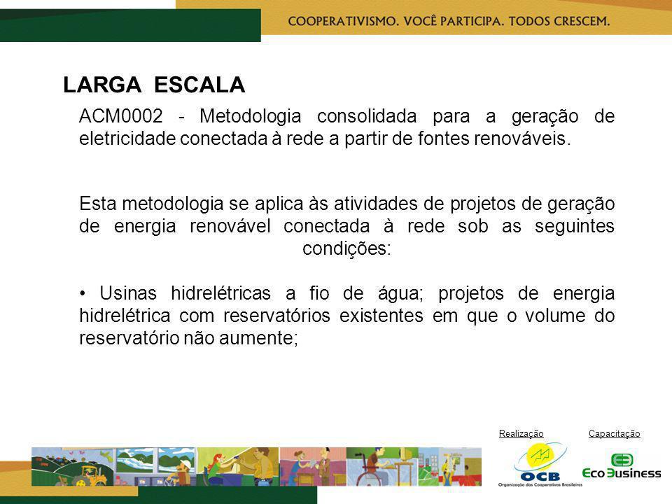 RealizaçãoCapacitação LARGA ESCALA ACM0002 - Metodologia consolidada para a geração de eletricidade conectada à rede a partir de fontes renováveis. Es