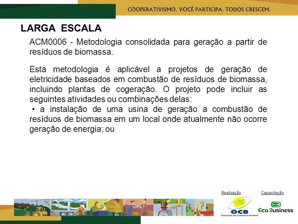RealizaçãoCapacitação LARGA ESCALA ACM0006 - Metodologia consolidada para geração a partir de resíduos de biomassa. Esta metodologia é aplicável a pro