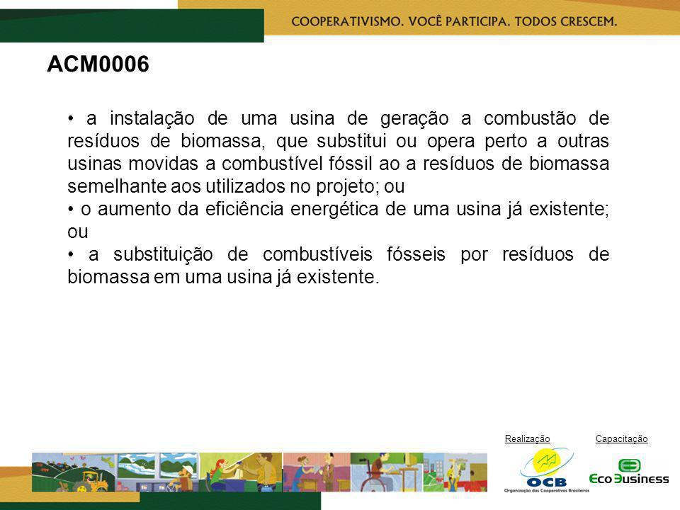 RealizaçãoCapacitação ACM0006 a instalação de uma usina de geração a combustão de resíduos de biomassa, que substitui ou opera perto a outras usinas m