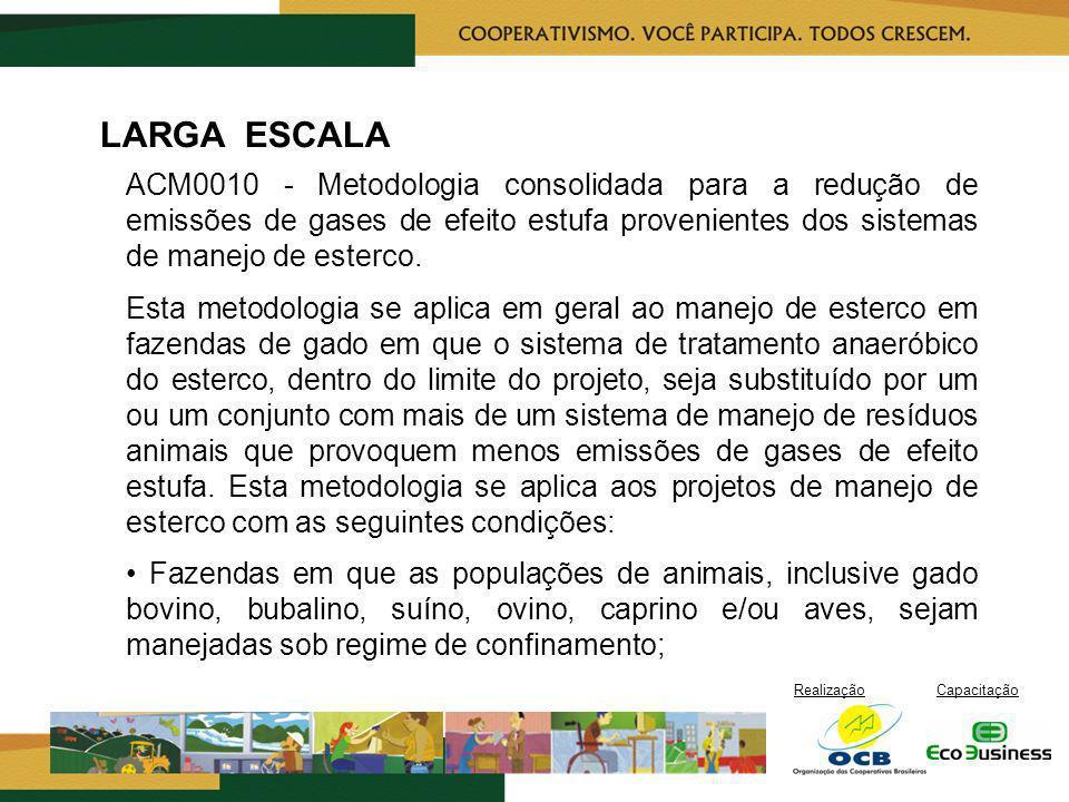 RealizaçãoCapacitação LARGA ESCALA ACM0010 - Metodologia consolidada para a redução de emissões de gases de efeito estufa provenientes dos sistemas de