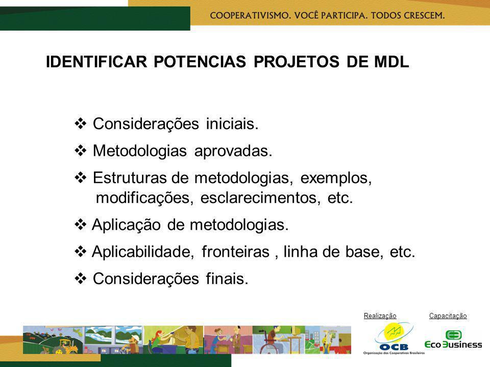 RealizaçãoCapacitação IDENTIFICAR POTENCIAS PROJETOS DE MDL Considerações iniciais. Metodologias aprovadas. Estruturas de metodologias, exemplos, modi