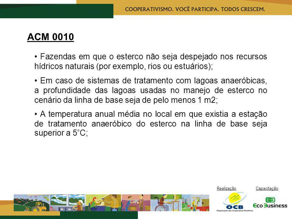 RealizaçãoCapacitação ACM 0010 Fazendas em que o esterco não seja despejado nos recursos hídricos naturais (por exemplo, rios ou estuários); Em caso d