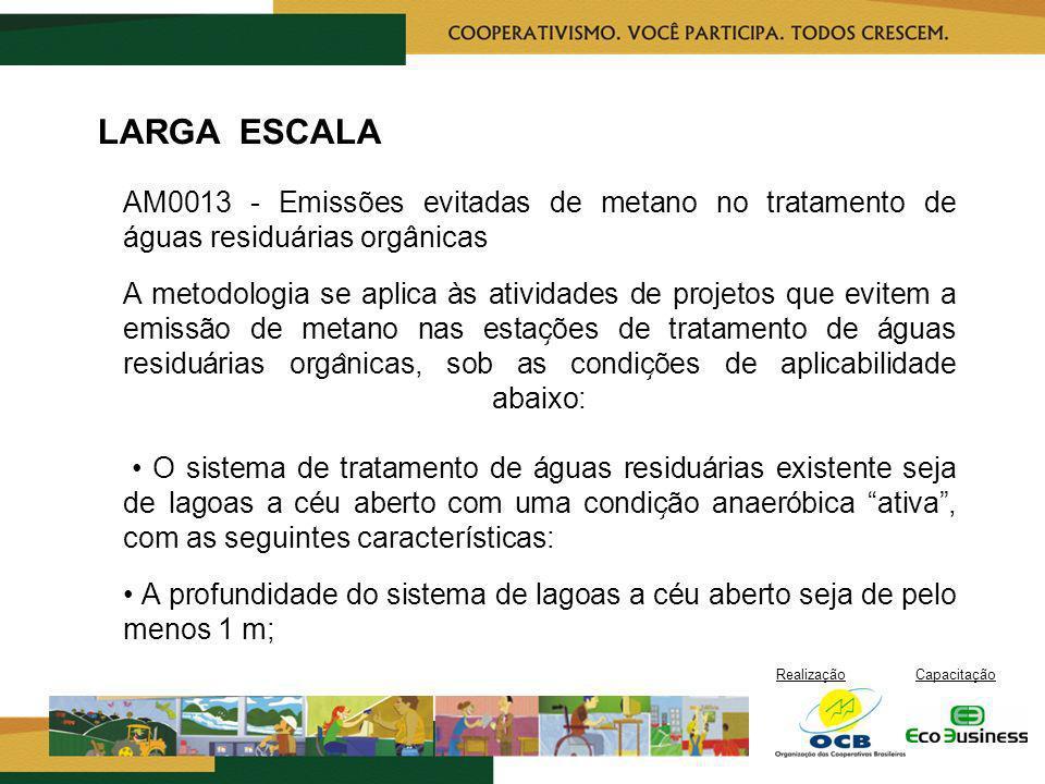 RealizaçãoCapacitação LARGA ESCALA AM0013 - Emissões evitadas de metano no tratamento de águas residuárias orgânicas A metodologia se aplica às ativi