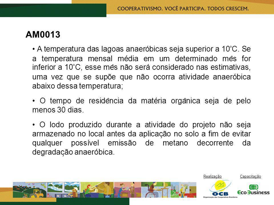 RealizaçãoCapacitação AM0013 A temperatura das lagoas anaeróbicas seja superior a 10°C. Se a temperatura mensal média em um determinado me ̂ s for i