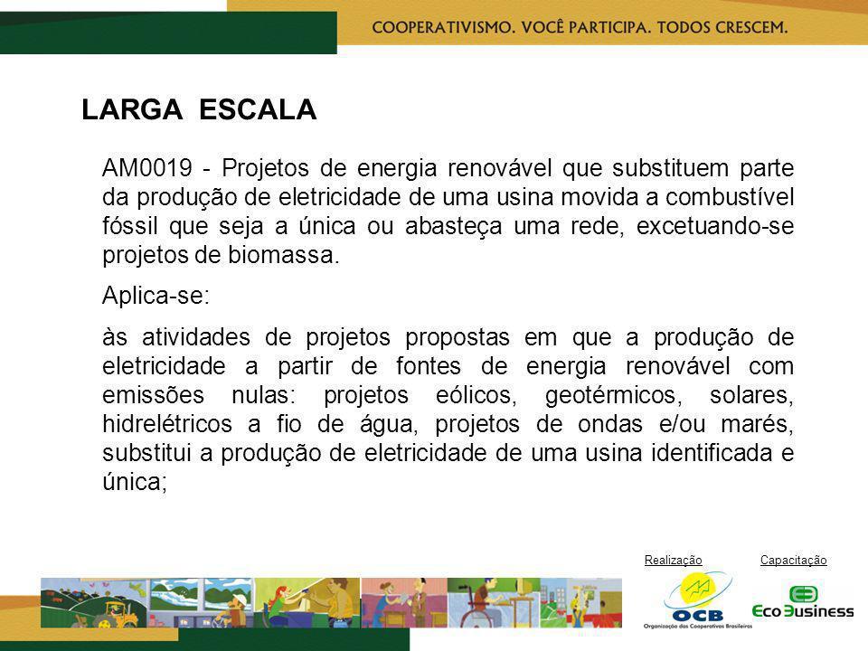RealizaçãoCapacitação LARGA ESCALA AM0019 - Projetos de energia renovável que substituem parte da produção de eletricidade de uma usina movida a combu
