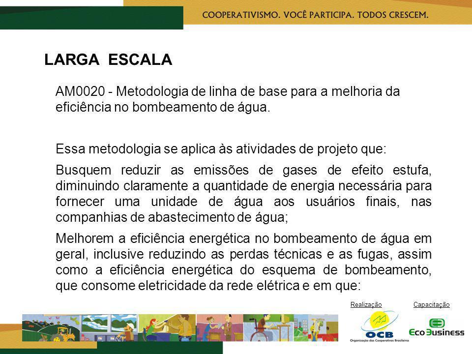 RealizaçãoCapacitação LARGA ESCALA AM0020 - Metodologia de linha de base para a melhoria da eficiência no bombeamento de água. Essa metodologia se apl