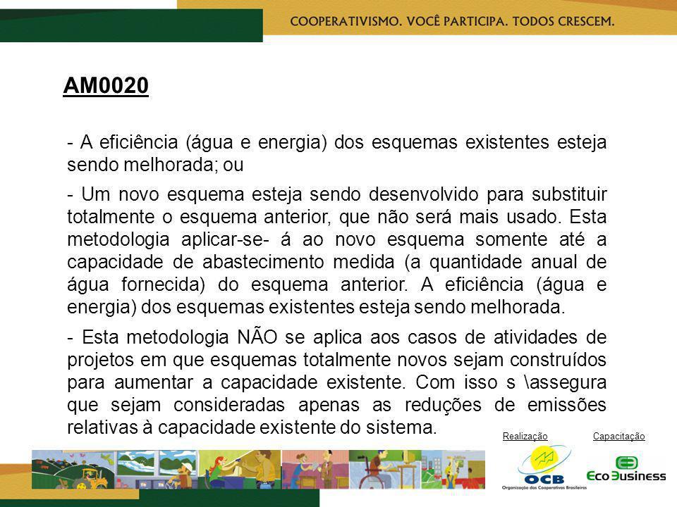 RealizaçãoCapacitação AM0020 - A eficiência (água e energia) dos esquemas existentes esteja sendo melhorada; ou - Um novo esquema esteja sendo desenvo