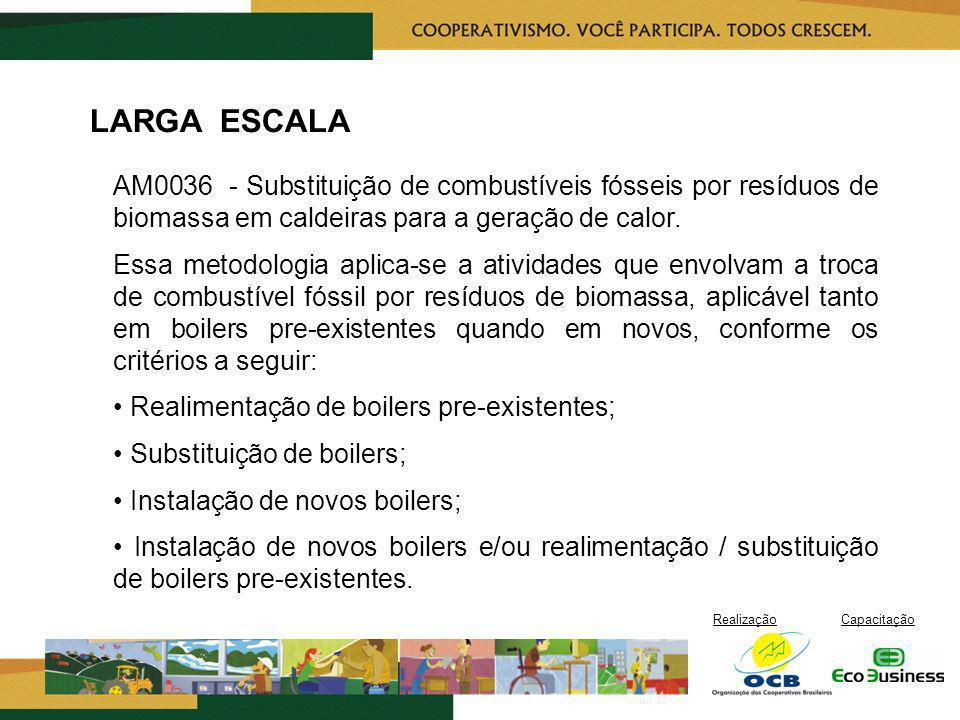 RealizaçãoCapacitação LARGA ESCALA AM0036 - Substituição de combustíveis fósseis por resíduos de biomassa em caldeiras para a geração de calor. Essa m