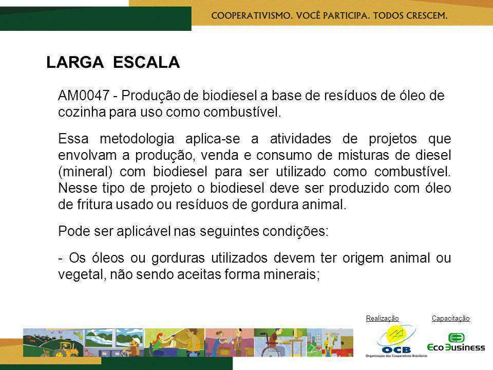 RealizaçãoCapacitação LARGA ESCALA AM0047 - Produção de biodiesel a base de resíduos de óleo de cozinha para uso como combustível. Essa metodologia ap