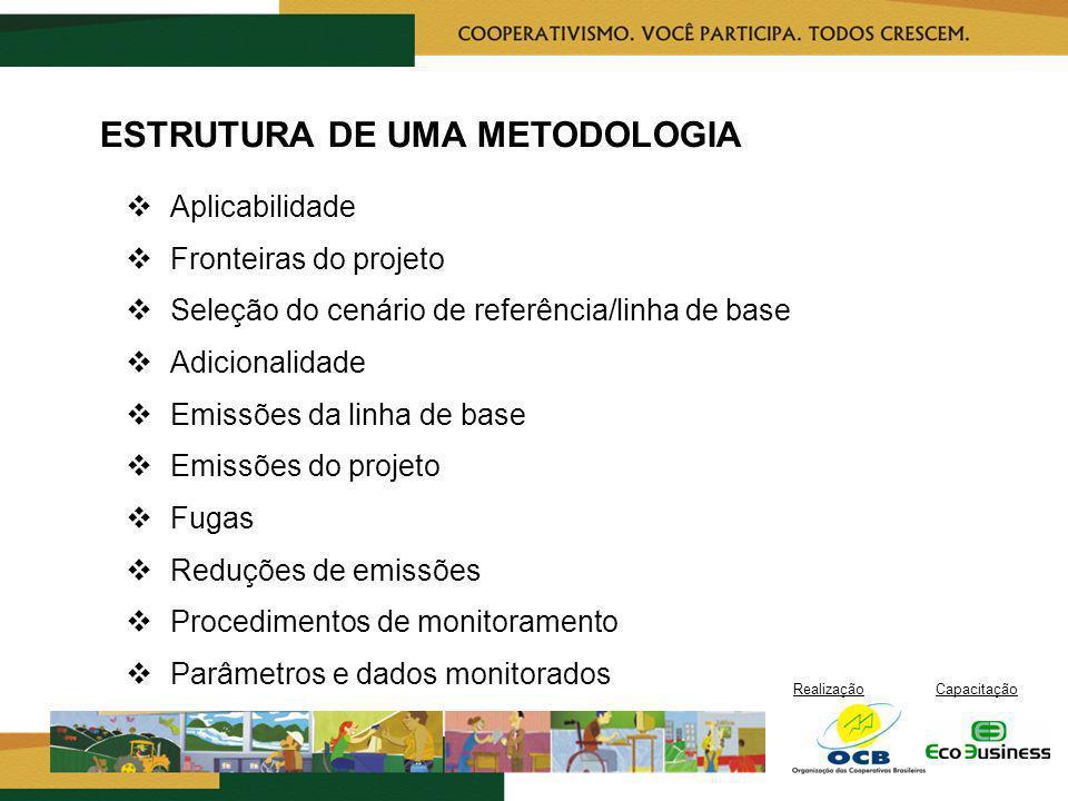 RealizaçãoCapacitação ESTRUTURA DE UMA METODOLOGIA Aplicabilidade Fronteiras do projeto Seleção do cenário de referência/linha de base Adicionalidade