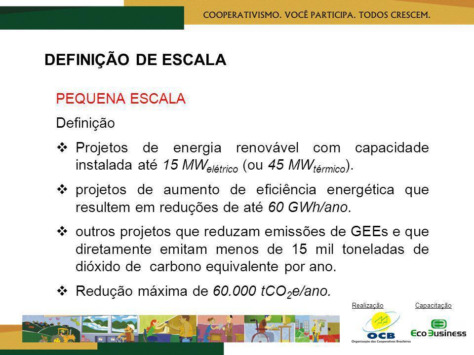 RealizaçãoCapacitação DEFINIÇÃO DE ESCALA PEQUENA ESCALA Definição Projetos de energia renovável com capacidade instalada até 15 MW elétrico (ou 45 MW