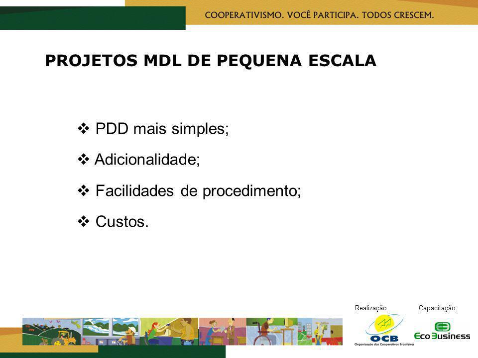RealizaçãoCapacitação PROJETOS MDL DE PEQUENA ESCALA PDD mais simples; Adicionalidade; Facilidades de procedimento; Custos.