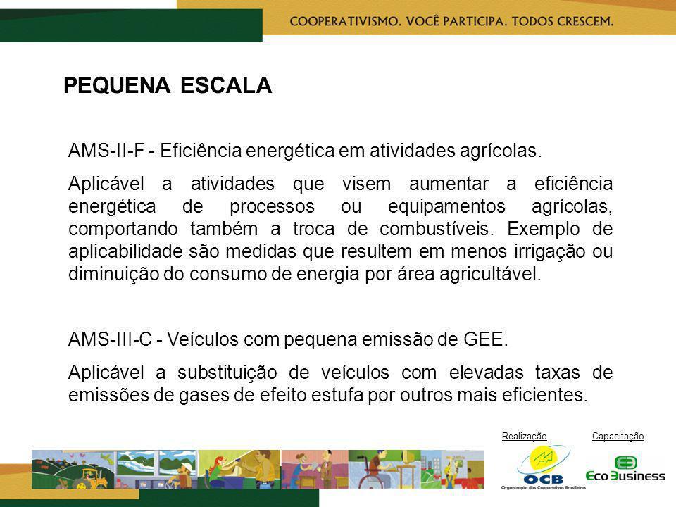 RealizaçãoCapacitação PEQUENA ESCALA AMS-II-F - Eficiência energética em atividades agrícolas. Aplicável a atividades que visem aumentar a eficiência