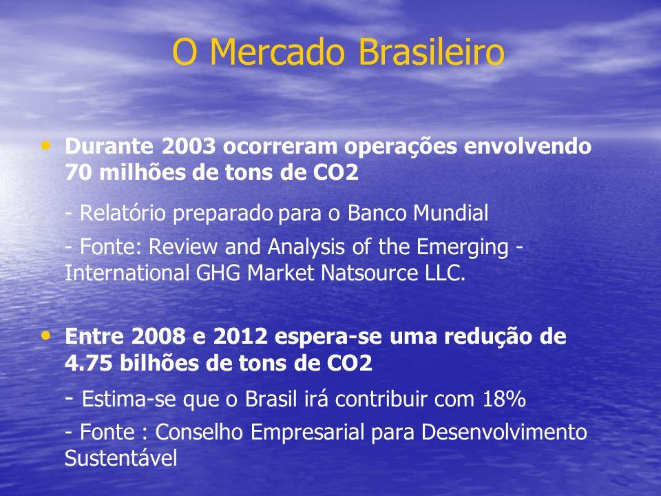 O Mercado Brasileiro Durante 2003 ocorreram operações envolvendo 70 milhões de tons de CO2 - Relatório preparado para o Banco Mundial - Fonte: Review