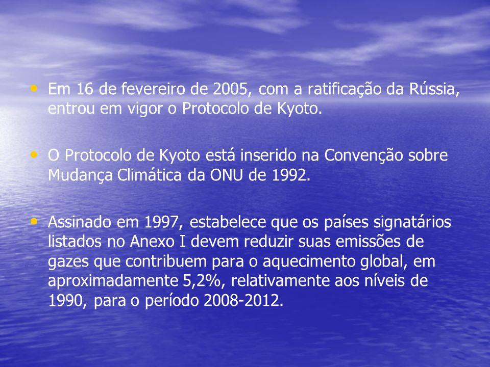 Em 16 de fevereiro de 2005, com a ratificação da Rússia, entrou em vigor o Protocolo de Kyoto. O Protocolo de Kyoto está inserido na Convenção sobre M