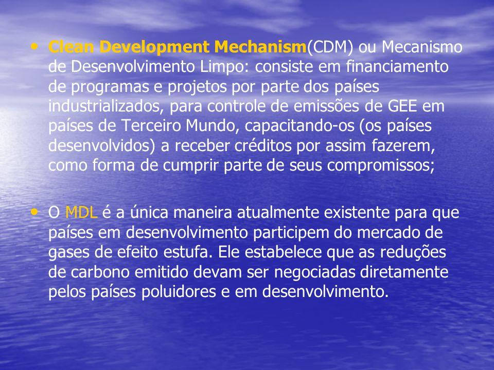 Clean Development Mechanism(CDM) ou Mecanismo de Desenvolvimento Limpo: consiste em financiamento de programas e projetos por parte dos países industr