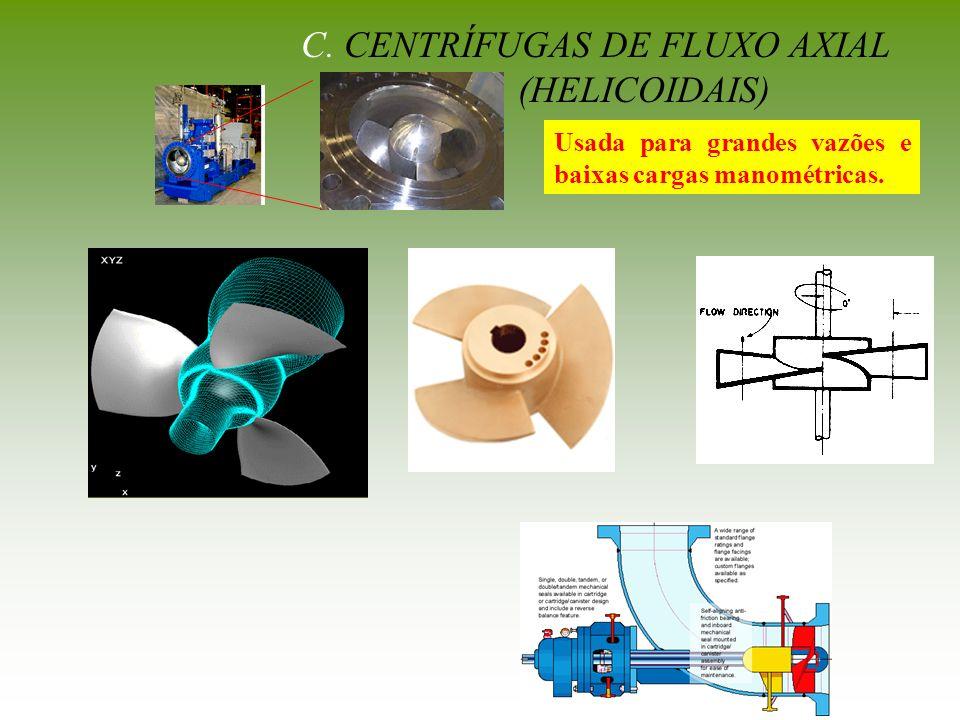 C. CENTRÍFUGAS DE FLUXO AXIAL (HELICOIDAIS) Usada para grandes vazões e baixas cargas manométricas.