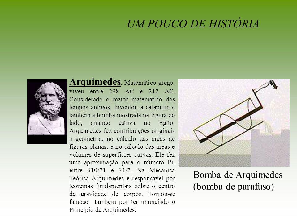 Bomba de Arquimedes (bomba de parafuso) Arquimedes : Matemático grego, viveu entre 298 AC e 212 AC. Considerado o maior matemático dos tempos antigos.