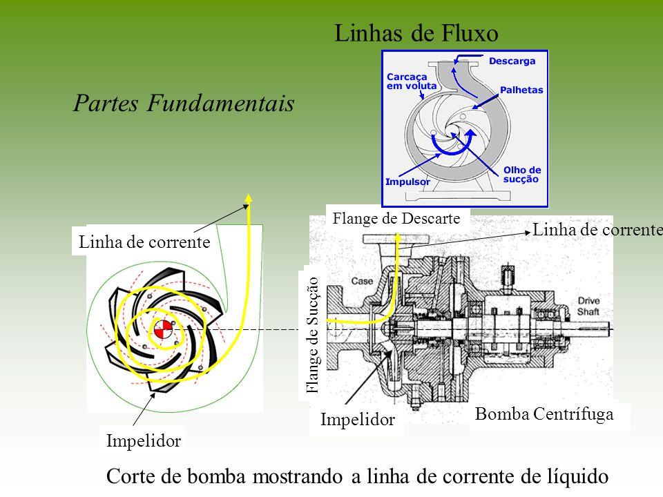 Linhas de Fluxo Partes Fundamentais Bomba Centrífuga Impelidor Flange de Sucção Flange de Descarte Linha de corrente Impelidor Corte de bomba mostrand