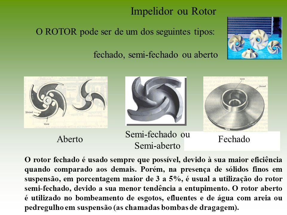 Impelidor ou Rotor O ROTOR pode ser de um dos seguintes tipos: fechado, semi-fechado ou aberto Aberto Semi-fechado ou Semi-aberto Fechado O rotor fech