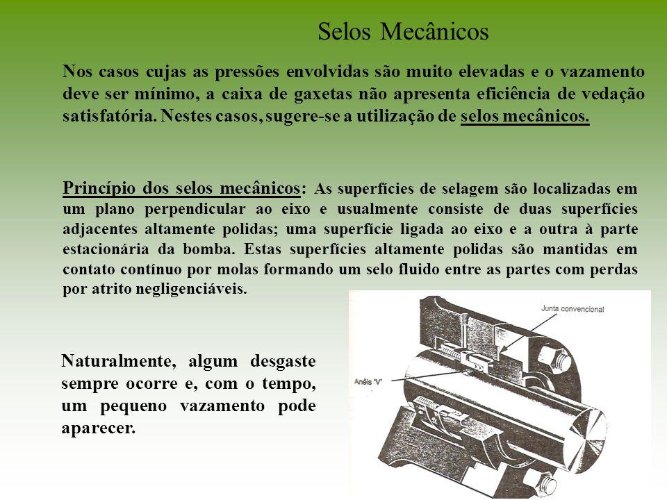 Selos Mecânicos Nos casos cujas as pressões envolvidas são muito elevadas e o vazamento deve ser mínimo, a caixa de gaxetas não apresenta eficiência d