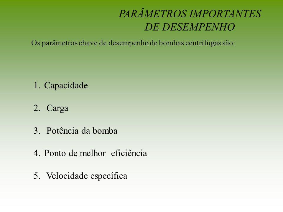 Os parâmetros chave de desempenho de bombas centrífugas são: PARÂMETROS IMPORTANTES DE DESEMPENHO 1.Capacidade 2. Carga 3. Potência da bomba 4.Ponto d