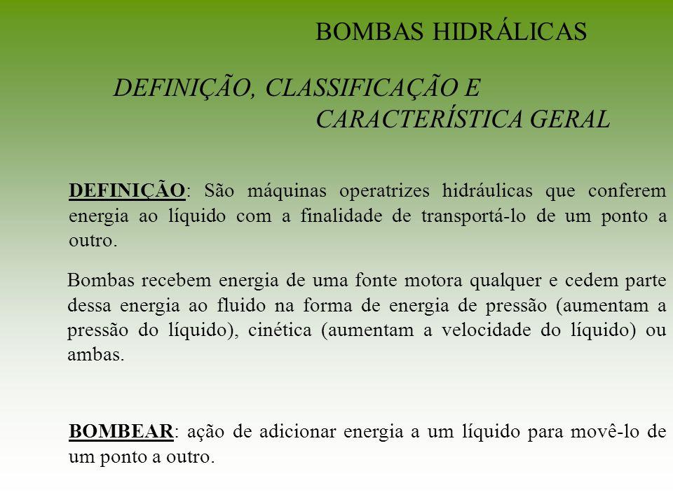 COMPARAÇÃO ENTRE BOMBAS VOLUMÉTRICAS E TURBO-BOMBAS Bombas VolumétricasTurbo-Bombas Relação constante entre descarga e velocidade da bomba, de modo que a vazão, Q, bombeada independe da altura e/ou pressão a serem vencidas.