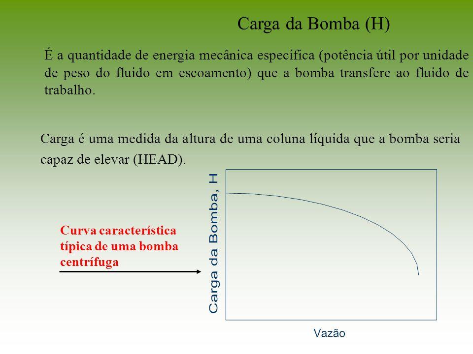 Carga é uma medida da altura de uma coluna líquida que a bomba seria capaz de elevar (HEAD). Carga da Bomba (H) É a quantidade de energia mecânica esp