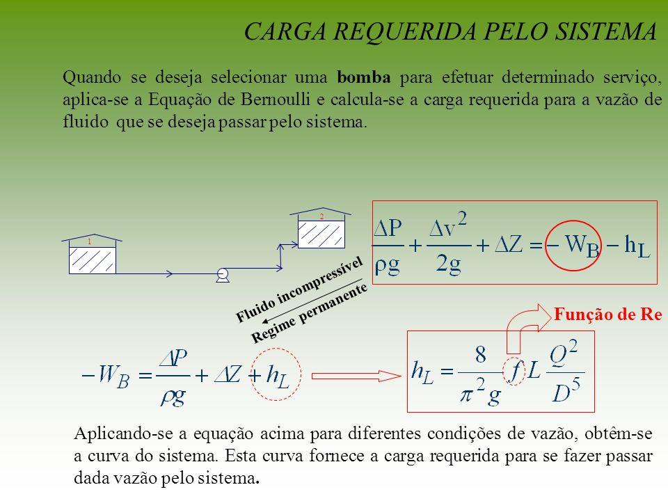 Quando se deseja selecionar uma bomba para efetuar determinado serviço, aplica-se a Equação de Bernoulli e calcula-se a carga requerida para a vazão d